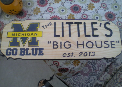 Little M sign with out stain